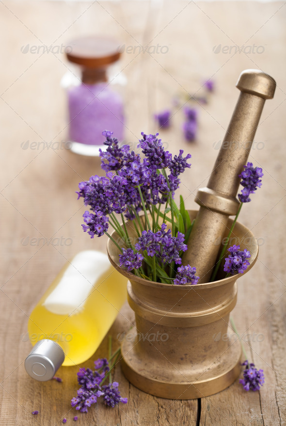 spa set with fresh lavender - Stock Photo - Images
