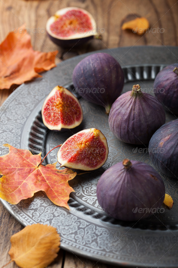 fresh figs and autumn leaves - Stock Photo - Images
