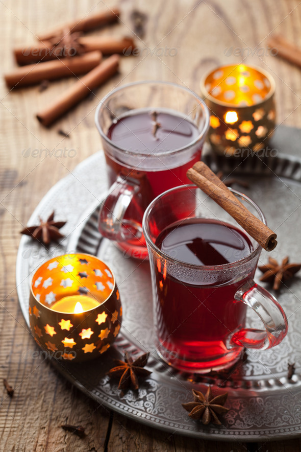 glass of mulled wine - Stock Photo - Images
