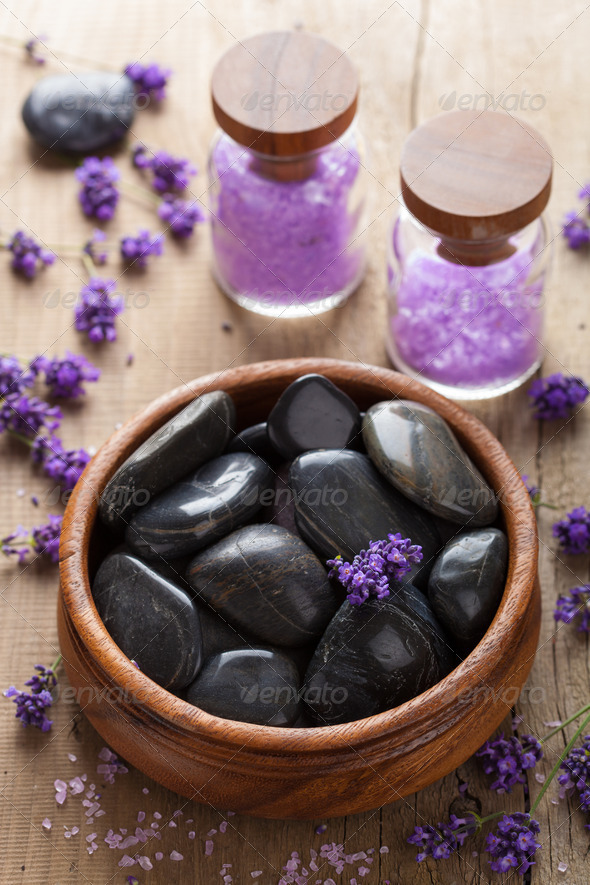 spa stones salt and lavender - Stock Photo - Images