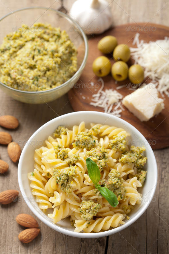 pasta with olive tapenade - Stock Photo - Images