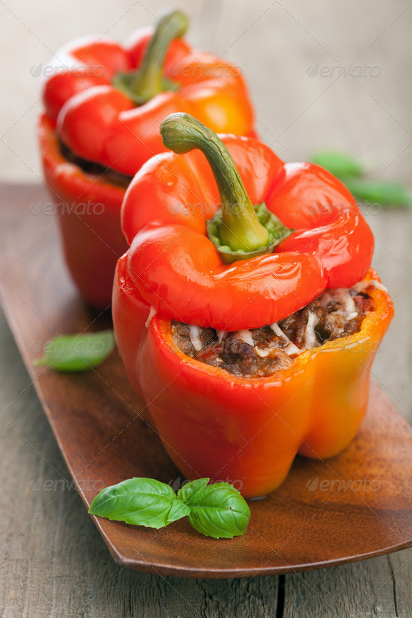 stuffed paprika with meat and vegetables - Stock Photo - Images