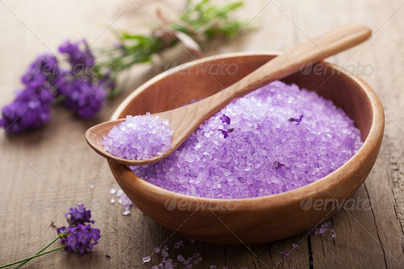 lavender salt for spa - Stock Photo - Images