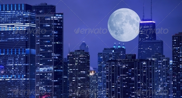 Skyline and Moon - Stock Photo - Images