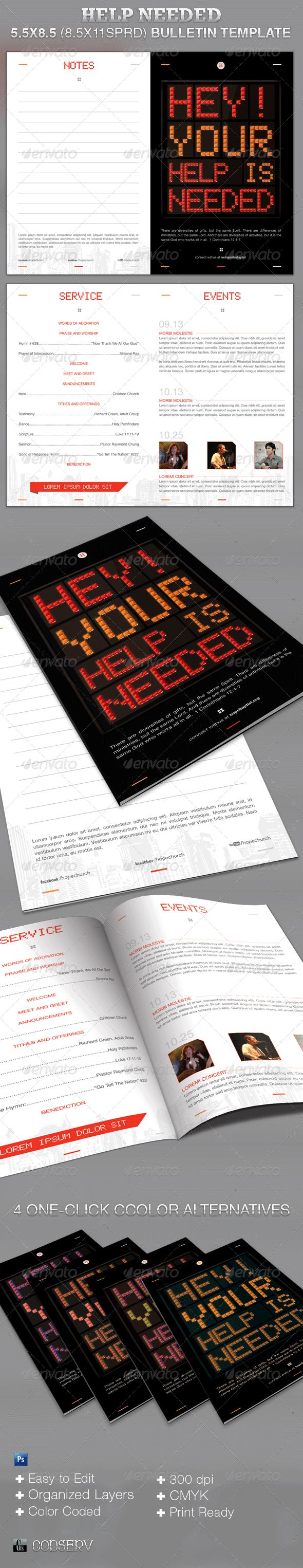 Help Needed Church Bulletin Template - Informational Brochures
