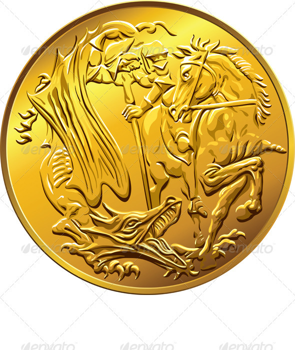 British Money Gold Coin Sovereign with St. George - Man-made Objects Objects