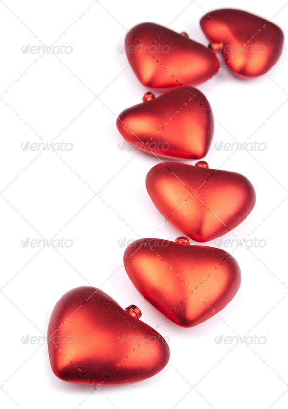 red hearts isolated - Stock Photo - Images