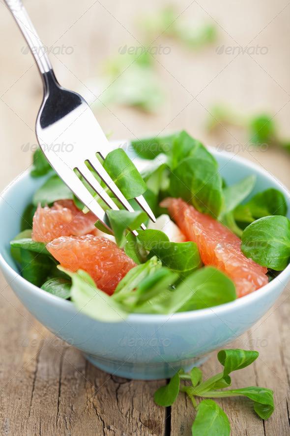 fresh salad with grapefruit - Stock Photo - Images