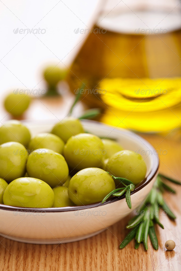 green olives and oil - Stock Photo - Images