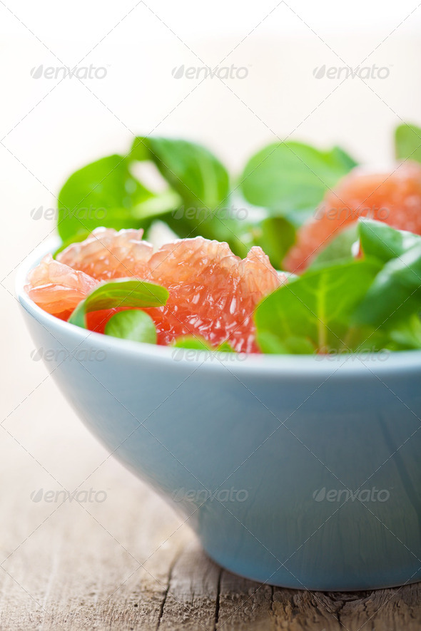 fresh salad with grapefruit - Stock Photo - Images