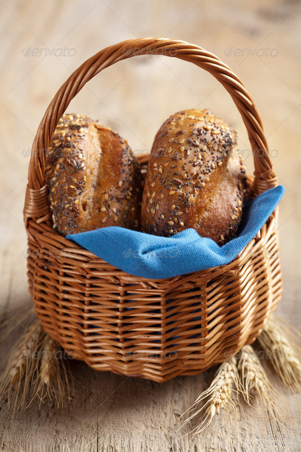 healthy bread in basket - Stock Photo - Images