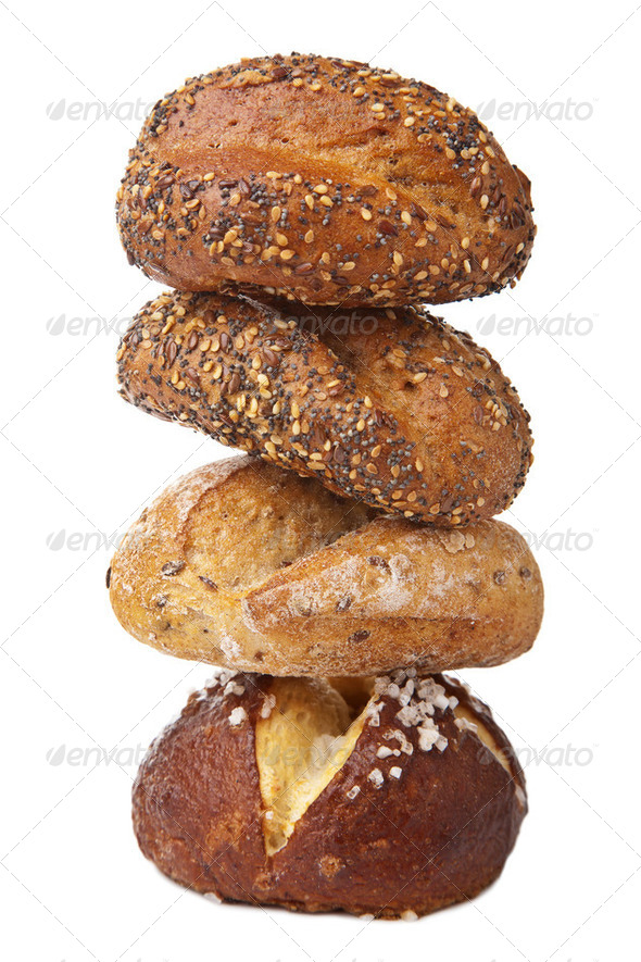 stack of healthy bread isolated - Stock Photo - Images