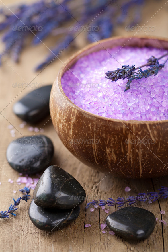 lavender salt for spa - Stock Photo - Images