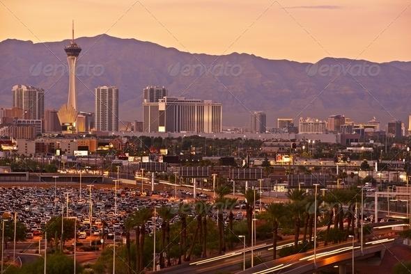 Las Vegas Sunset Skyline - Stock Photo - Images