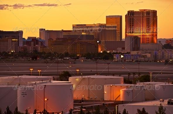 Vegas Strip Sunset - Stock Photo - Images