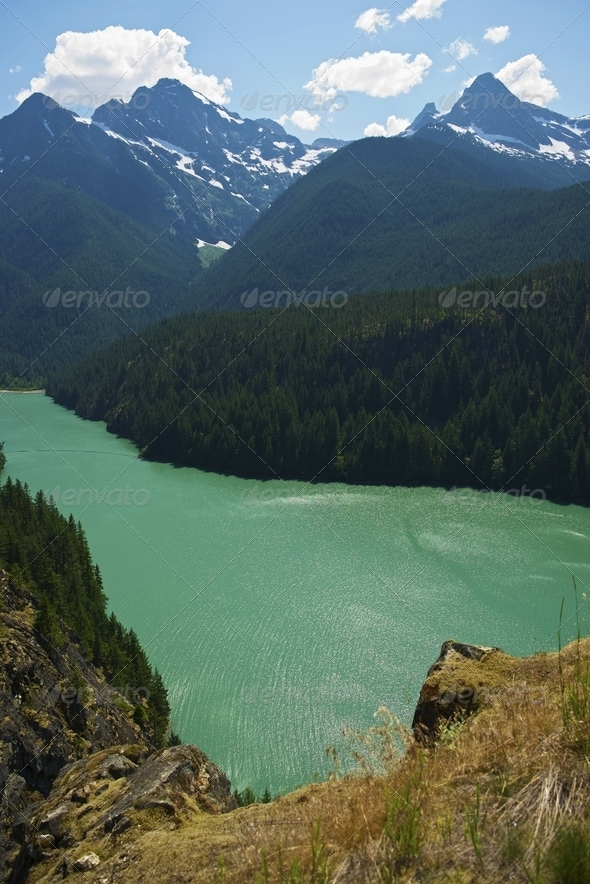 Diabo Lake North Cascades - Stock Photo - Images