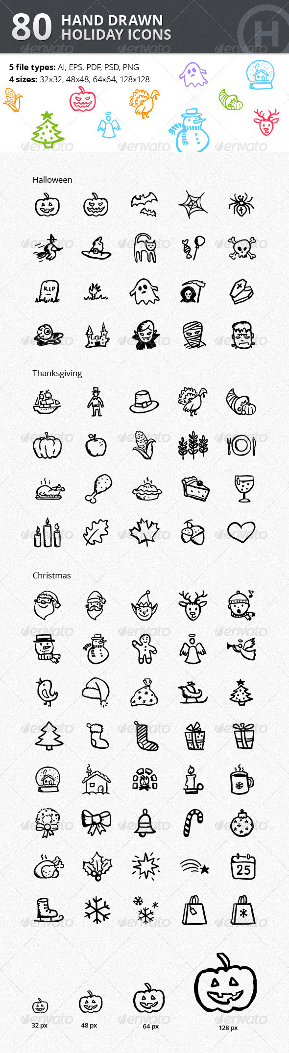 Christmas Thanksgiving Halloween Icons Bundle - Seasonal Icons
