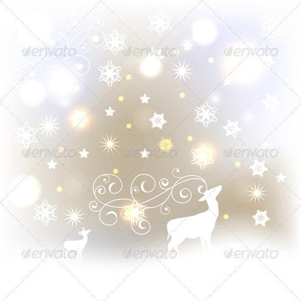 Vector Winter Background with Deers, Stars - Seasons/Holidays Conceptual