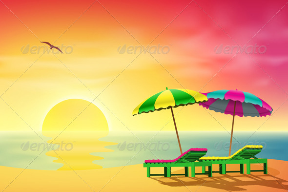Sun Loungers on Beach - Landscapes Nature
