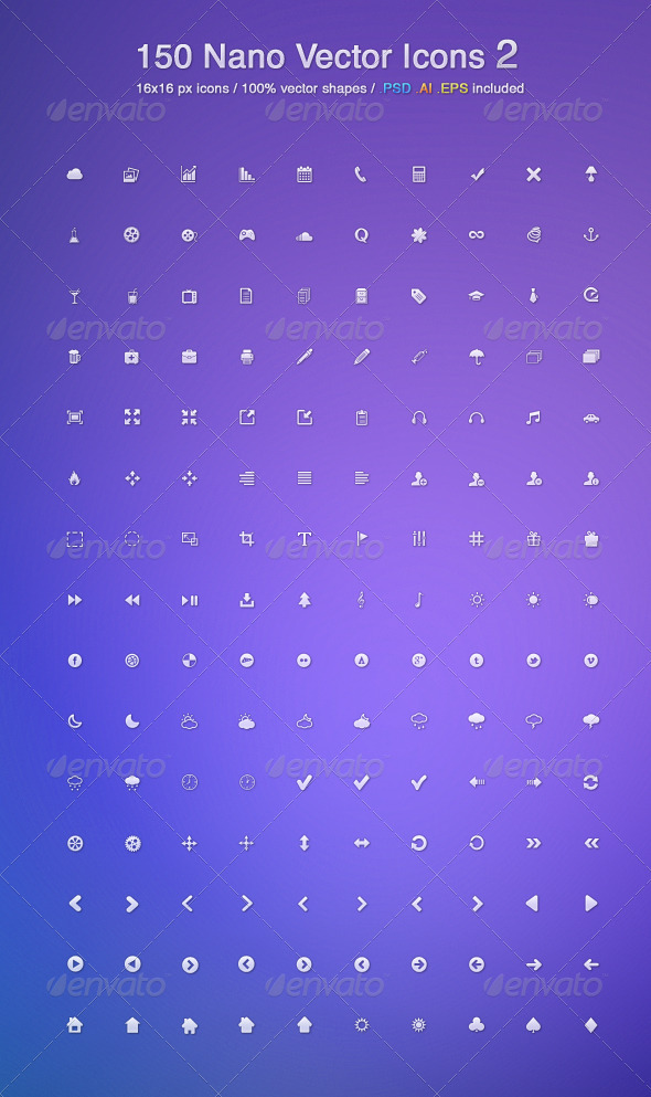 150 Nano Vector Icons 2 - Web Icons