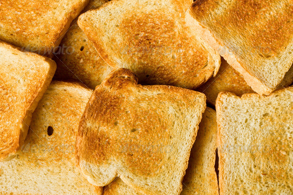 heap of toasted bread - Stock Photo - Images