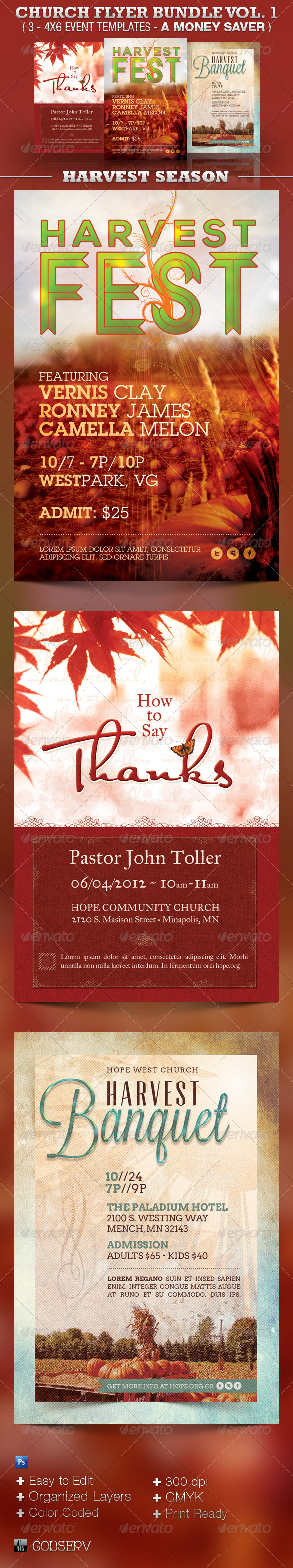 Harvest Church Flyer Template Bundle Vol 1 - Church Flyers