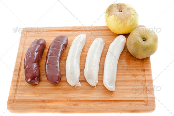 black pudding and white sausages - Stock Photo - Images