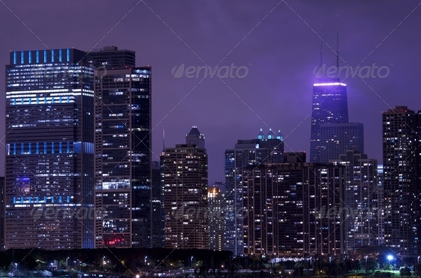 Night Life Chicago - Stock Photo - Images