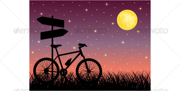 Night landscape with a bike - Backgrounds Decorative