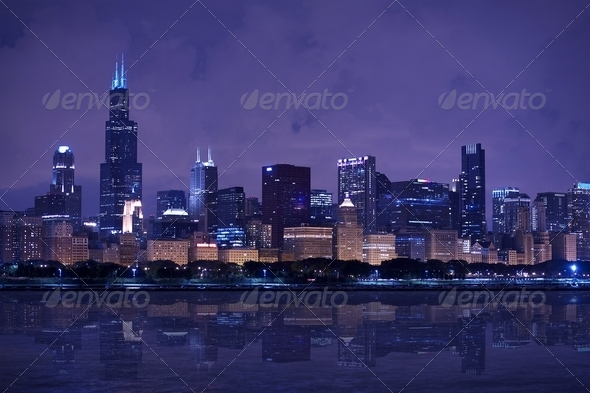 Chicago Skyline Panorama - Stock Photo - Images