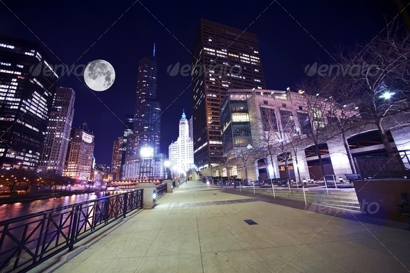 Chicago Famous Riverwalk - Stock Photo - Images