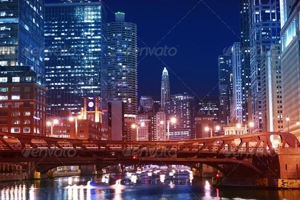 Chicago Franklin Bridge - Stock Photo - Images