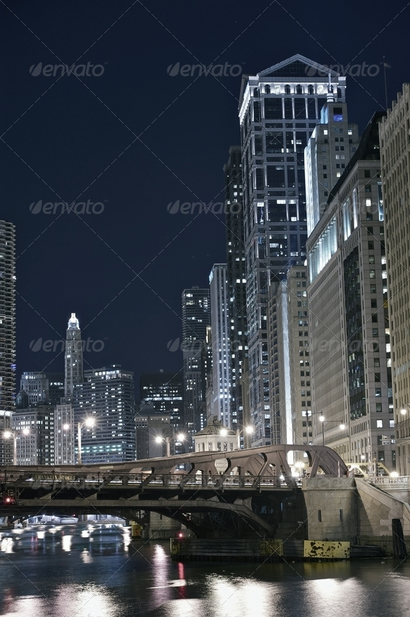 Modern Chicago at Night - Stock Photo - Images