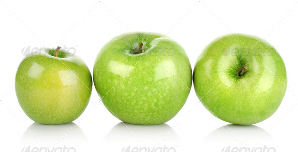 Three green apples isolated - Stock Photo - Images