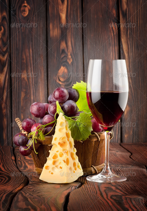 Wine glass and cheese - Stock Photo - Images