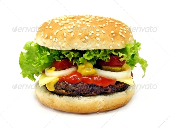 A Large Cheeseburger - Stock Photo - Images
