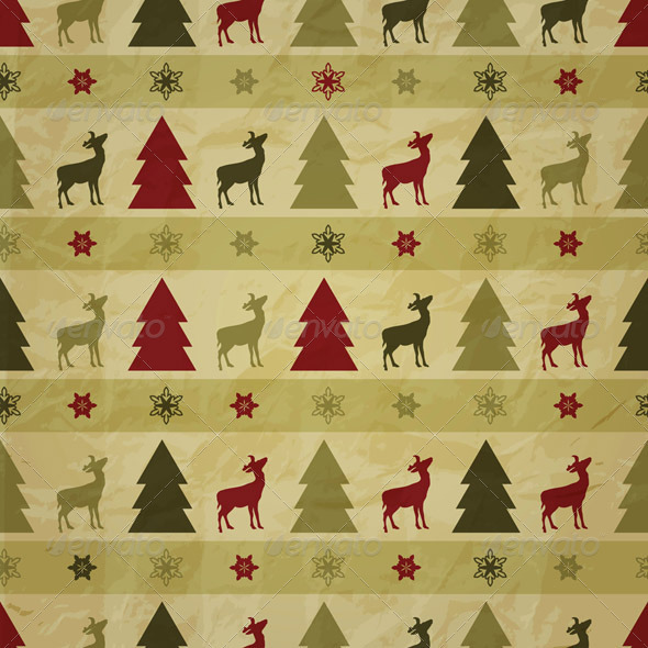 vector seamless winter pattern, crumpled paper tex - Patterns Decorative