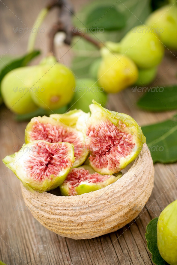 Fresh white figs - Stock Photo - Images