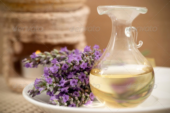 Lavender flowers and aromatherapy oil - Stock Photo - Images