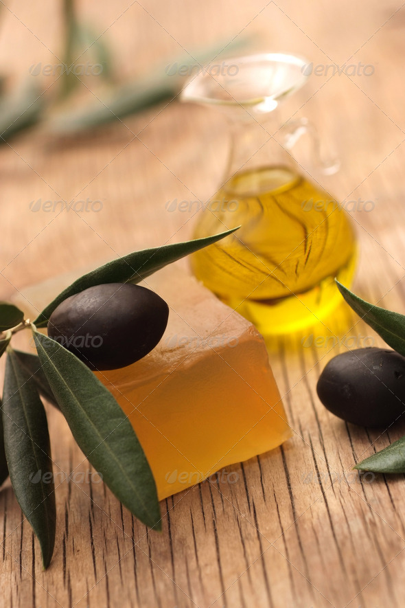 Homemade soap made from olive oil - Stock Photo - Images