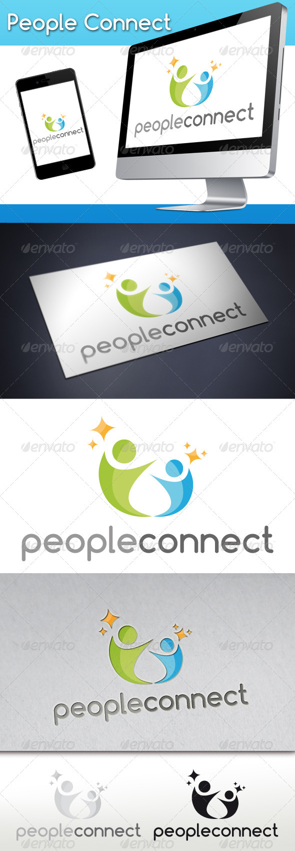 People Connect Logo 1 - Humans Logo Templates