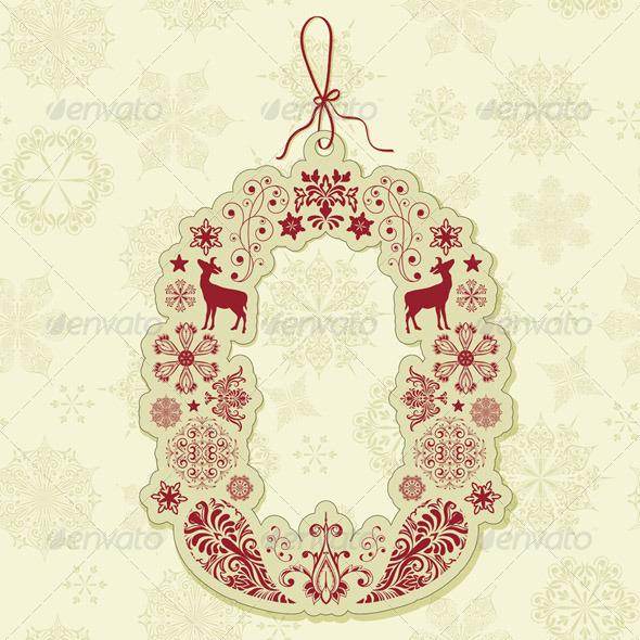 Vector Christmas Tag on Seamless Pattern - Decorative Symbols Decorative