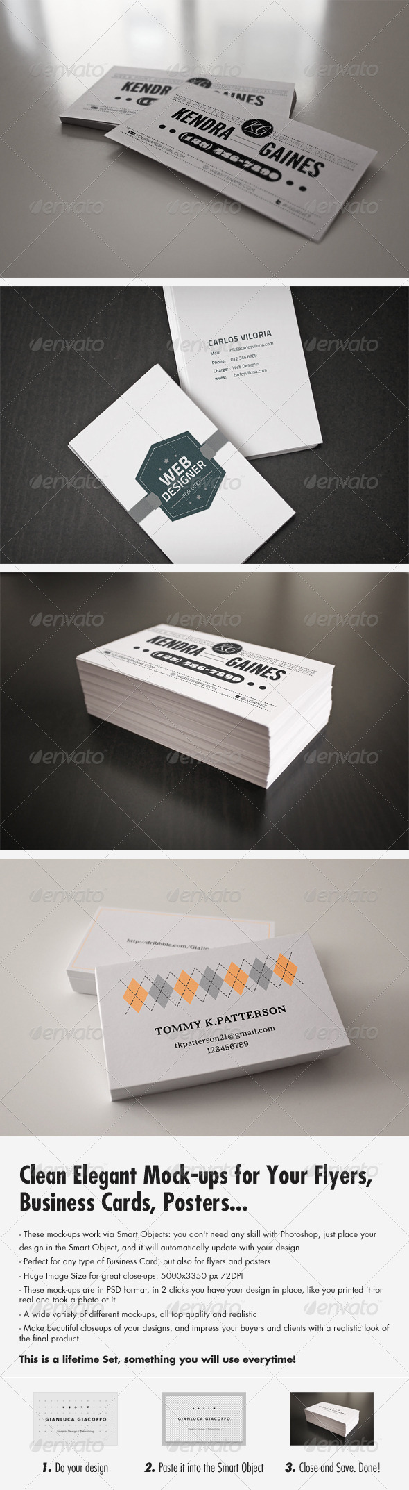Flyer / Business Card Clean Realistic Mock-Up Set 1 - Business Cards Print
