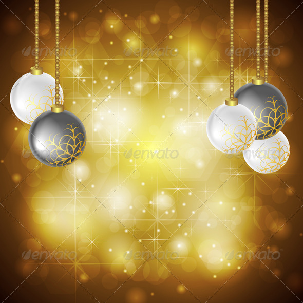 Golden Christmas background. Vector illustration - New Year Seasons/Holidays
