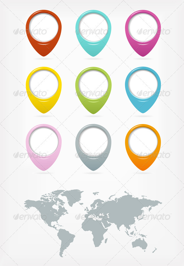 Colorful Web Pointers Set With World Map - Web Elements Vectors