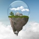 Floating Island Protected By Glass Sphere Above The Clouds - VideoHive Item for Sale