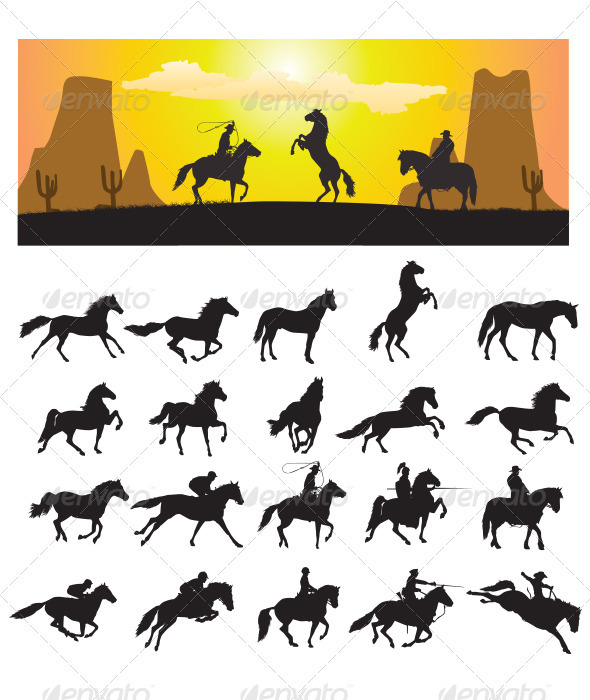 Horse Silhouette - Animals Characters