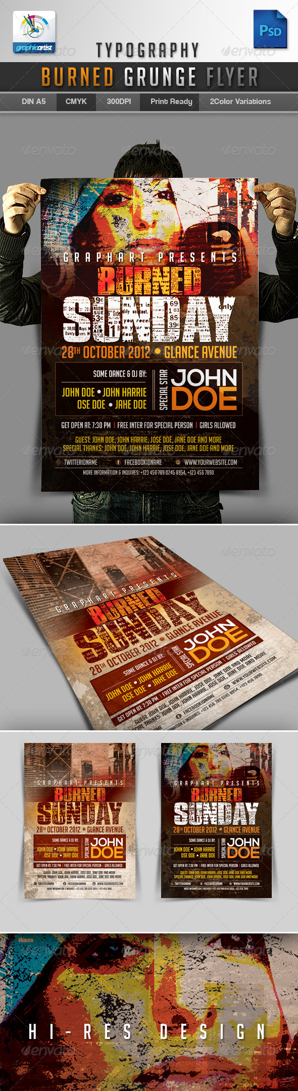 Typography Burned Grunge Flyer - Events Flyers