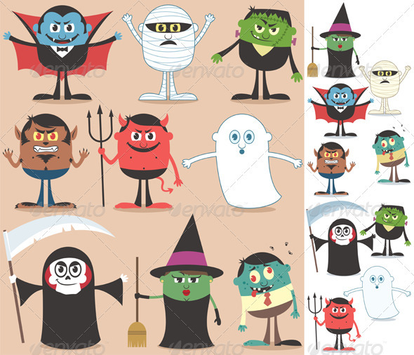 Halloween Characters by Malchev | GraphicRiver