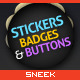 24 Stickers, Buttons & Badges - GraphicRiver Item for Sale
